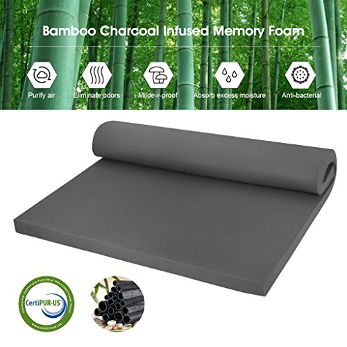 Mattress Topper 2' Foam (LANGRIA 2-Inch Twin Bamboo Charcoal Infused Memory Foam Mattress Topper, CertiPUR-US Certified, Hypoallergenic, Antibacterial, Mildew-Proof)