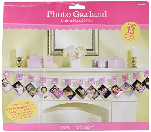 [Amscan 1st Birthday Glitter Photo Garland, 12ft, Pink] (Halloween Decorations For 1st Birthday)