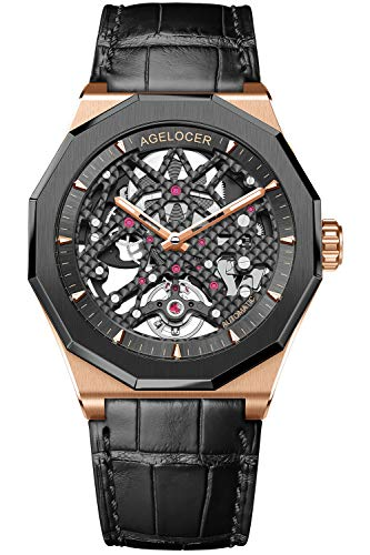 (Agelocer Mechanical Luminous Automatic Watches Skeleton Power Reserve 80 Hours Rubber Strap Sappire Watch (AGL:6001H1) )