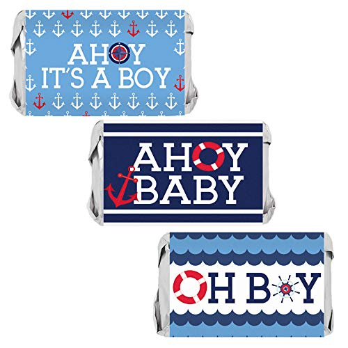 Ahoy It's a Boy Baby Shower Mini Candy Wrappers | 45 Stickers