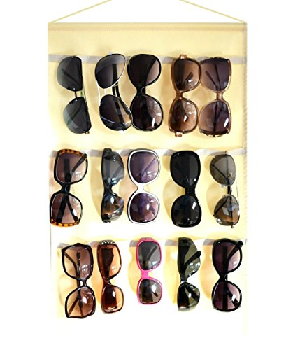 Sunglasses beige organizer, storage, holder, display, stand for 15 glasses for wall or - Wall Organizer Sunglasses