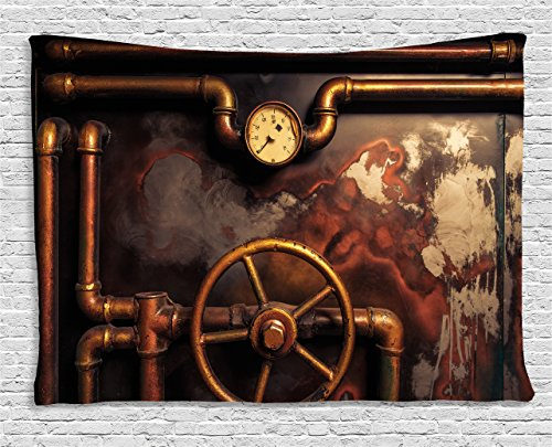 "Ambesonne Industrial Tapestry, Steam Pipes and Pressure Gauger Vintage Style Damaged Timeworn Engine, Wide Wall Hanging for Bedroom Living Room Dorm, 80"" X 60"", Orange Bronze"