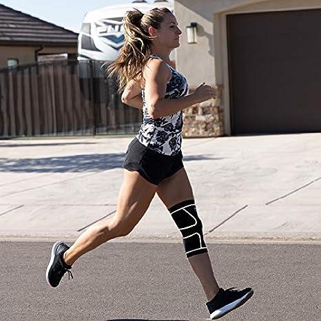 course d/échirure du m/énisque jeunes Compressions Genouill/ère pour hommes femmes arthrite stabilisateur de balle halt/érophilie et sport Moyen Noir avec Blanc