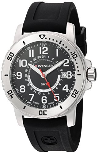 Wenger Men's Off Off Road GMT Stainless Steel Swiss-Quartz Watch with Silicone Strap, Black, 22 (Model: 01.1342.101)