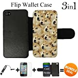 Mr Doge MEME Custom iPhone 4 Wallet Cases/4S Wallet Cases,Bundle 3in1 Comes with HD Screen Protector/Universal Stylus Pen by innosub