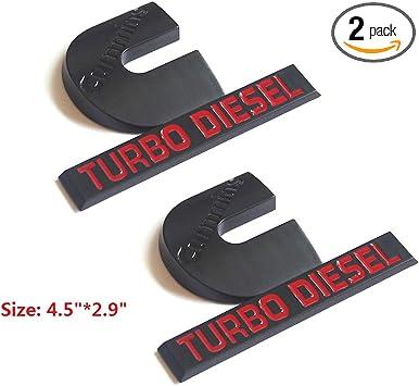 2 NEW MATTE BLACK /& RED DODGE RAM 2500 3500 DIESEL POWER EMBLEMS BADGES SET