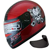 Motorcycle Street Sport Bike Helmet Full Face Helmet FF98 2 Visors Comes with Clear Shield and Free Dark Tinted Shield (114 Red, M)