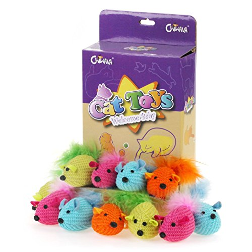 Chiwava 12PCS 4.3'' Soft Catnip Cat Toys Mice with Feather Knitted Stuffed Cotton Mouse Kitten Activity Play Assorted -