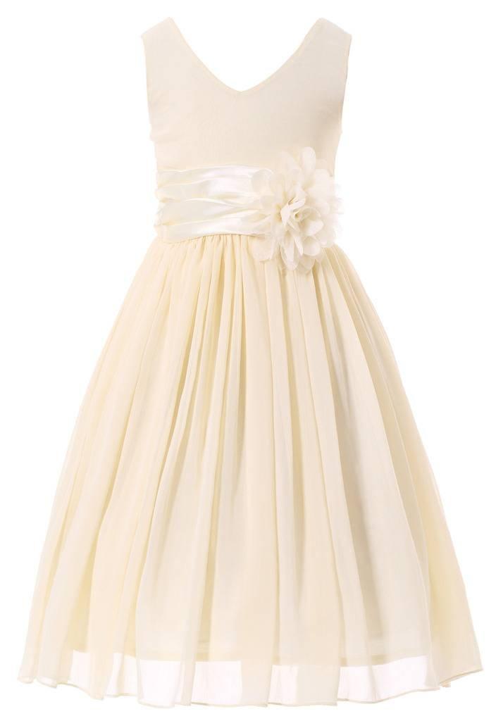 Bow Dream Flower Girl Dress Junior Bridesmaids V-Neckline Chiffon Cream Ivory 12