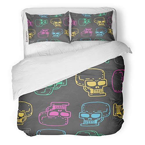 (Emvency 3 Piece Duvet Cover Set Brushed Microfiber Fabric Breathable Abstract Skull Cartoon Skeleton Head Drawing Medicine Retro Vintage Black Bedding Set with 2 Pillow Covers Full/Queen)