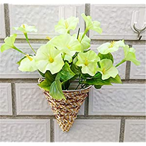 Skyseen Artificial Morning Glory Flower Hanging Flowerpot for Wall Decoration 42