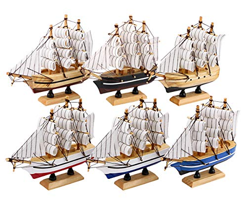 Dedoot Sailing Ship Model Decor, Pack of 6 Wooden Miniature Sailing Boat Model Handmade Vintage Nautical Sail Ship 5.5x5x1.2 Inch for Tabletop Ornament, Ocean Theme and Home Decor - 6 Colors