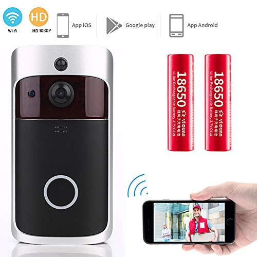 Mosafe Wireless Doorbell 1080P HD Video Smart Security Door Bell, Real-Time Camera, Two-Way Talk with PIR Motion Detection Night Vision&Wide Angle for Home Use + 2 Rechargeable Batteries (Doorbell)