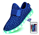 SLEVEL 16 Colors Thicker Breathable LED Light Up Shoes Flashing Sneakers for Kids Boys Girls(S33HBlue27)