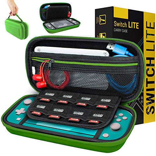 Carry Case for Nintendo Switch Lite - Portable Travel Carry Case with Storage for Switch Lite Games & Accessories [Green]