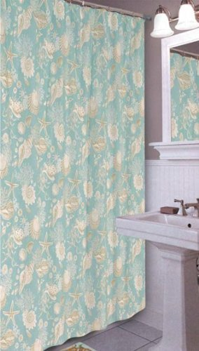 C&F Home Natural Shells Shower Curtain Shower Curtain Green - Shells, starfish and coral float atop the blue ground. Easy to hang with convenient button hole openings Crafted of 100-percent cotton - shower-curtains, bathroom-linens, bathroom - 51yEDCKtYSL -