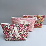 Liberty Print Personalized Make Up Bag Cosmetic Bag Monogram Zip Pouch