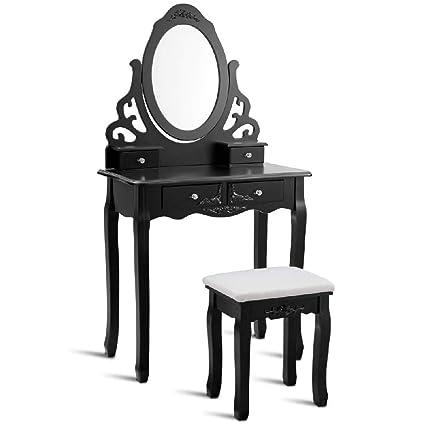 Grey Velvet Dressing Table Vanity Stool Padded Seat Chair
