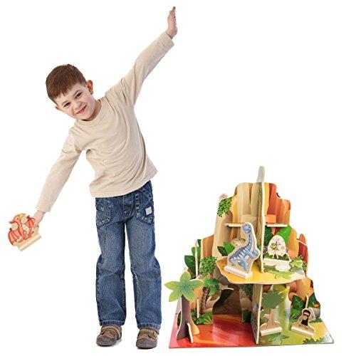 (BBI Kids Indoor Multi Level 4 Sided Wooden Adventure Dinosaur Playset Toy Figures for Children)