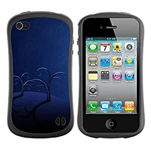 "Pulsar iFace Series Tpu silicona Carcasa Funda Case para Apple iPhone 4 / iPhone 4S , Árboles Selva Triste Shadow Art Moonlight"""