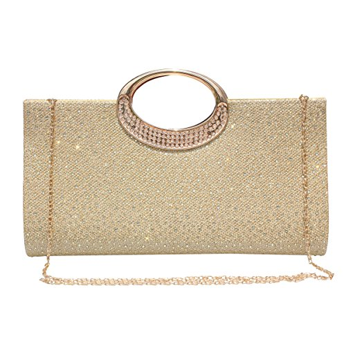 - Women Rhinestone Clutch Purse Handbag Crystal Evening Bag Wedding Party Prom Purse.(Gold)