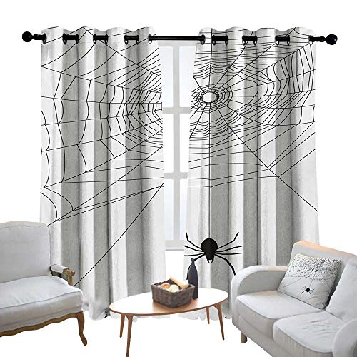 Lewis Coleridge Curtains for Bedroom Spider Web,Complex Doodle Net Sticky Gossamer Hunting Insect Catch Danger Prey Spooky,Black White Curtain Panels for Bedroom & Kitchen,1 Pair ()