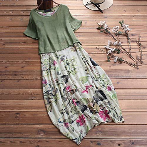Toponly Short Sleeves Midi Dresses Women Boho Rose Print O-neck Summer Casual Beach Loose High Waist T Shirt Dress