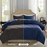King Comforter Sets on Sale Comfort Spaces – Vixie Reversible Goose Down Alternative Comforter Mini Set - 3 Piece – Navy and Charcoal – Stitched Geometrical Diamond Pattern – King Size, Includes 1 Comforter, 2 Shams