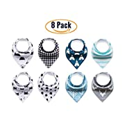 Baby Bandana Bib Set Of 8 By Cunies: Drooling And Teething Toddlers And Newborns, 100% Organic Cotton, Soft And Hypoallergenic Dribble Scarf, Absorbent With Moisture Management,For Boys And Girls