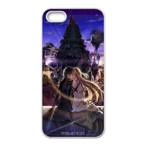 Asuna And Kirito Sword Art Online coque iPhone 5 5S Housse Blanc téléphone portable couverture de cas coque EBDOBCKCO14744
