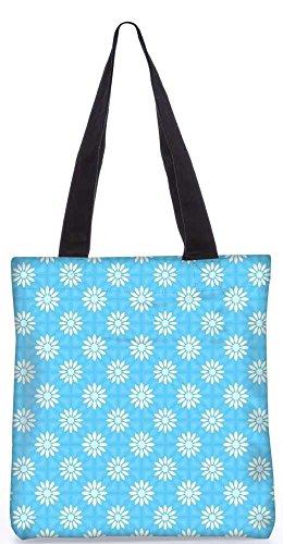 """Snoogg Weißen Blumen Blaues Muster-Einkaufstasche 13,5 X 15 In """"Shopping-Dienstprogramm Tragetasche Aus Polyester Canvas"""