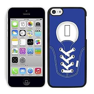 Funda carcasa para Apple iPhone 5C diseño zapatilla cordones color azul marino borde negro