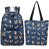 El-fmly Girls School Bags for Kids Elementary School Backpacks Bookbags for Children with Tote Bag Shoulder Handbag 2PCS - Blue