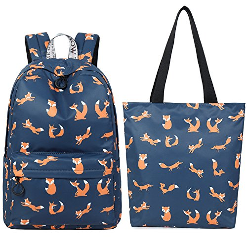El-fmly Girls School Bags for Kids Elementary School Backpacks Bookbags for Children with Tote Bag Shoulder Handbag 2PCS - Blue by El-fmly