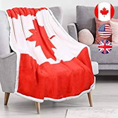 √COMFORTABLE DESIGN:This soft warm CAN/ Canada Flag Print sherpa blanket has reversible design premium plush fleece on one side and sherpa lining on the other side, provide elegance and comfort into one blanket√ALL SEASONS COMFORT100% polyest...