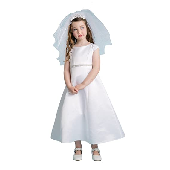 19d6c16067 Petite Adele Big Girls White Satin Rhinestone Pearl Communion Dress 7-16   Amazon.co.uk  Clothing