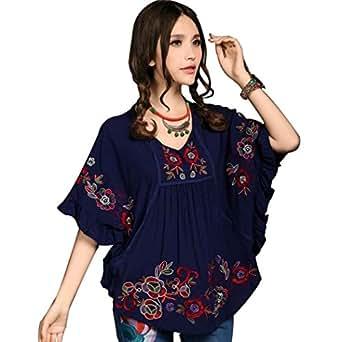 Amazon.com: kafeimali Tops bordado de la mujer Loose Peasant ...