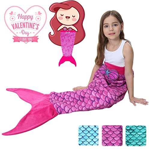 Camlinbo Mermaid Tails Blanket For Girls Flannel Soft Warm All Seasons Sleeping Bags Best Great Gift For Friends Family Apply To Bedroom Sofa Beach Outdoor (Rose red)