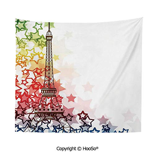 Durable Washable and Reusable tapestry wall hanging carpet 59x51in,Colorful Image Eiffel Tower with Stars Love Romance International Town Landmark,Green Yellow Red Comfy and No Strange Odor home deco