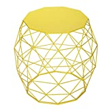 Joveco Metal/Iron Wire Structure Curved Stool/End Table/Side Table with Triangle Pattern – Yellow For Sale