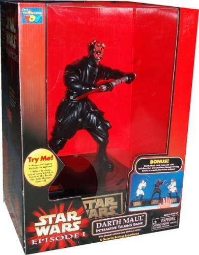 (Star Wars Episode 1 The Phantom Menace 12 Inch Tall Action Figure Interactive Talking Bank - DARTH MAUL with Combat Actions and Original Voice )