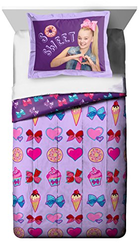 Nickelodeon Jojo Siwa Sweet Life Twin/Full Comforter – Super Soft Kids Reversible Bedding features Jojo Siwa – Fade Resistant Polyester Includes 1 Bonus Sham (Official Nickelodeon Product)