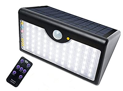 Suyumee Solar Lights 60 LEDs 1300 LM Wireless Motion Sensor Outdoor with 5 Modes Remote Control Ultra Bright Waterproof Security Lighting for Garden Patio,Deck,Court,Stairs
