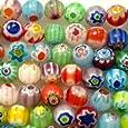 Beading Station 65-Piece Mix Millefiori Flower Lampwork Glass Round Beads, 6mm