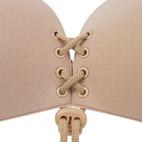 Sanlitock Women's Strapless Bra Self Adhesive Silicone Push Up with Drawstring Nudo
