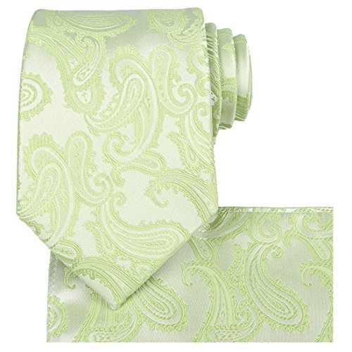 Green Tie Set: Paisley Necktie + Pocket Square by KissTies ()