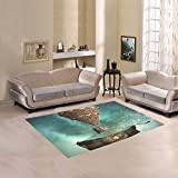 Love Nature Sweet Home Modern Collection Custom Fantasy steampunk airship Area Rug 7'x5' Indoor Soft Carpet