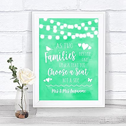 Letrero de boda con diseño de luces de acuarela verde menta ...