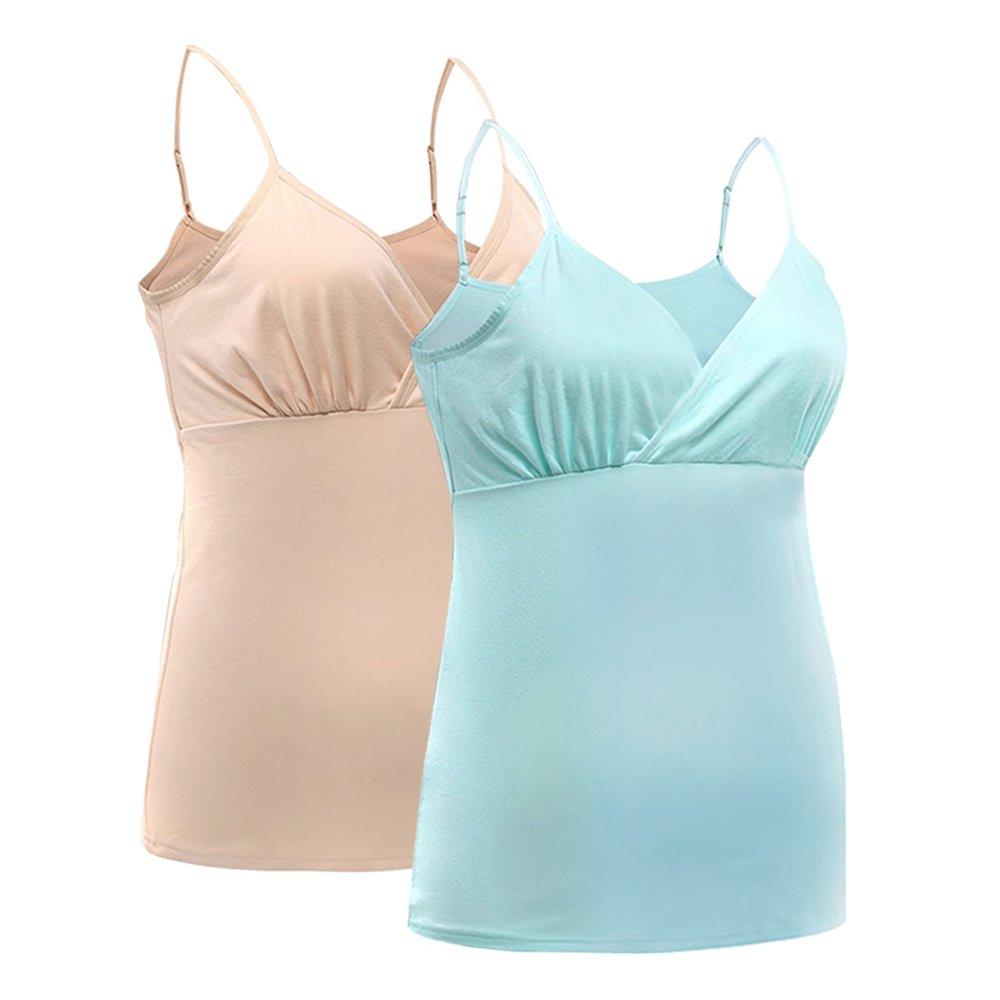 HONFON Womens Maternity Pajama tops Nursing Tank Top Sleep Bra For Breastfeeding 2PCS/Pack