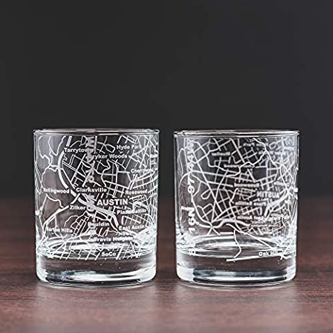 Greenline Goods Whiskey Glasses – 10 Oz Tumbler Gift Set for Atlanta lovers, Etched with Atlanta Map | Old Fashioned…